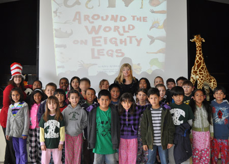 Author Amy Gibson with Mrs. Watts third grade class